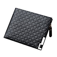 Men Embossing Soft PU Leather Crosswise Short Wallet Business Fashion Purse Pockets With Side Zipper Color:Cross Section Black