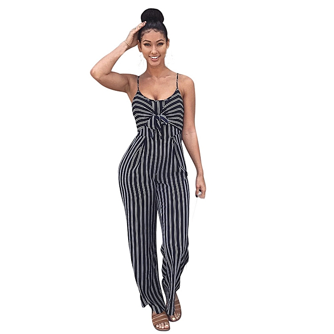 f2e26560372e jiuhap store Womens Clubwear Strappy Striped Playsuit Bandage Bodysuit  Party Jumpsuit -Navy
