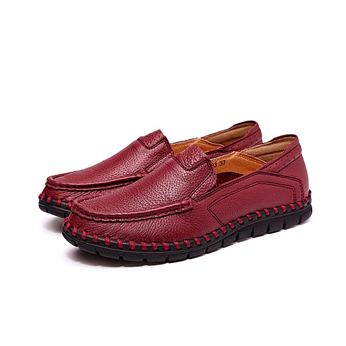9b2bef8ca0a Fashion Women Casual Leather Shoes Soft Outdoor Slip On Flat Loafers ...