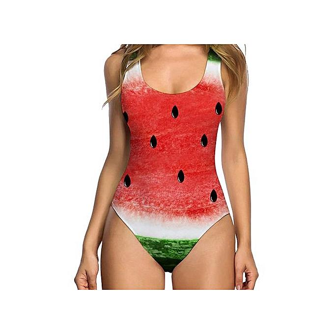5bac739cfa3e Wenrenmok Store Women Sexy High Cut One Piece Swimsuit Funny Bathing Suit  Monokini Swimwear- Watermelon