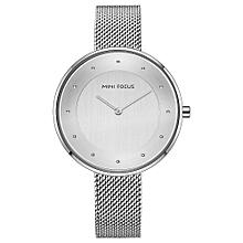 MINI FOCUS Brand Luxury Women Stainless Steel Clock Ladies Quartz Wrist Watch - SILVER