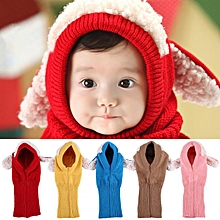 Dog Style Comfortable Winter Baby Hat And Scarf Joint Knitted Caps For Infant Boys Girls Red