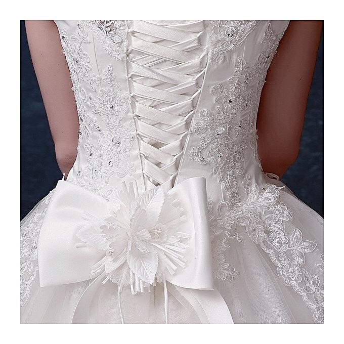 Fashion Women's Sleeveless Lace Bowknot Wedding Dress