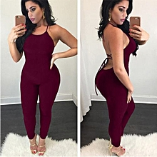 Hot Fashion Backless Sexy Bandage Halter Romper Slim Playsuit Fitness Nightclub Lady Outfits-red