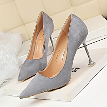 9.5cm Flock Women High Heels Pumps Formal Shallow Female Shoes (Grey)