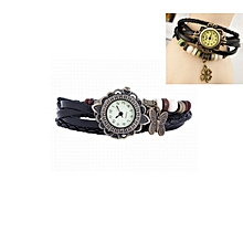 Faux Leather Bracelet Watch - Black