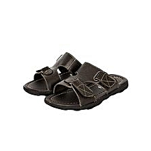 Dark/ Coffee Open Leather Sandals With  Velcro Straps