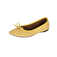 Yellow Pointed Flat With Floral Interior