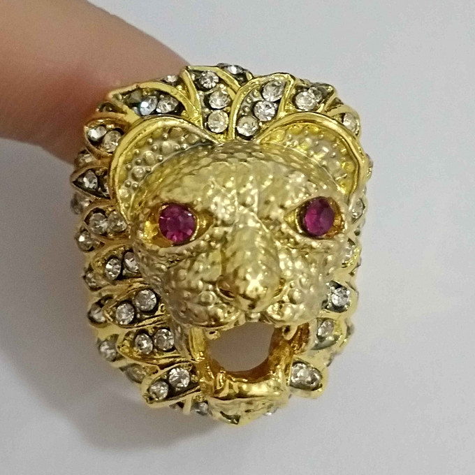5d6f9cb32aa Men Fashion Punk Style Lion Head Gold Filled Natural Ruby Gemstone Diamond  Ring