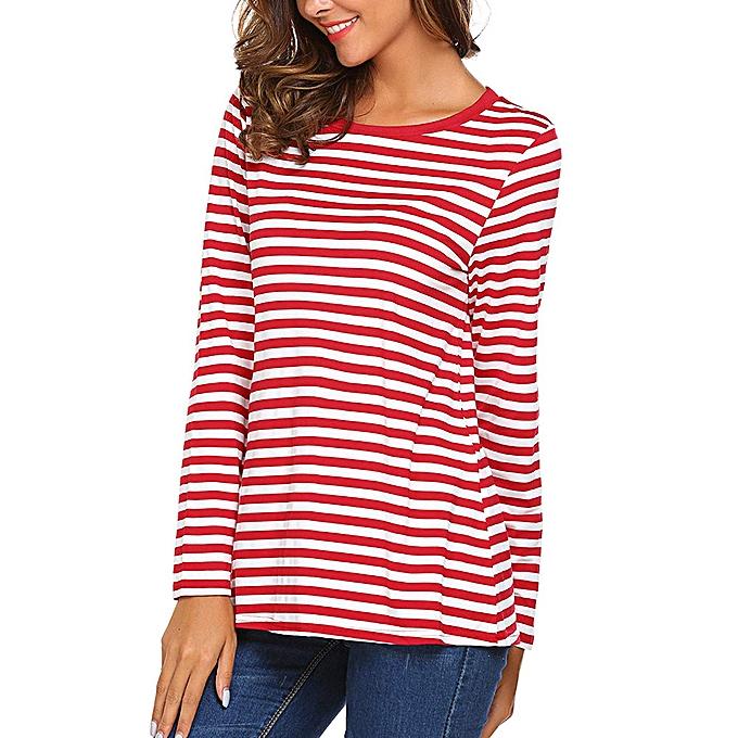 d05a2386c46 ... huskspo Women Long Sleeve Round Neck Basic T-Shirt Striped Shirts Tunic  Top Blouse ...