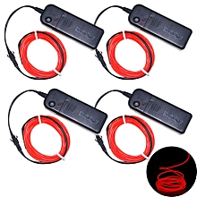 3W 5V 3M Flexiblee Neon EL Wire Light Dance Party Decor Light Batteries not Included 4pcs - Red