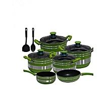 Non Stick Cooking Pot - 12 Pieces - Green & Silver