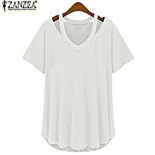 S-5XL ZANZEA Women Short Sleeve Deep V Plus Asymmetrical T-Shirt Blouse Tops Tee (Off White)