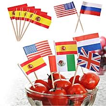 Honana 50 Pcs/Lot Flag Fruit Toothpick Paper Flag Food Picks Cake Toothpicks World-Cup Fruit Sticks