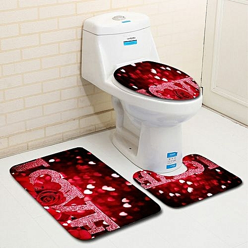 Fohting 3PCS Valentine's Day Pattern Non Slip Toilet Seat Cover Rug Bathroom Set Decor - Multicolour