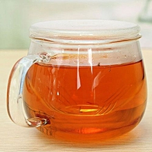 2PCS 320ml Clear Glass Heat Resistant Tea Mug Coffee Cup With Tea Infuser Filter&Lid
