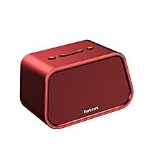 Baseus Bluetooth Speaker Mini Portable Outdoor Wireless Speaker 3D Stereo Music Surround Player (Red) LJMALL