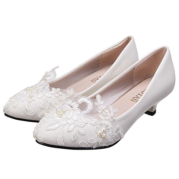 Lace Wedding Shoes.Women Pearl Flower Lace Wedding Shoes Prom Bridal Bridesmaid Flat Low Heel Shoes 3cm Eu
