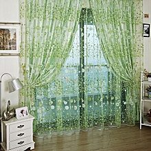 Chiffon Floral Printed Curtain 100 X 270CM - Green