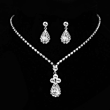 KaLaiXing Pearl Necklace Bride Diamond Jewelry Sets. Necklace Earrings Diamond Water Droplets Elegant Women Jewellery Set of Crystal Pendant Necklace+Earrings-XL03