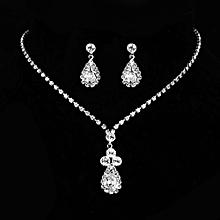 KaLaiXing Pearl Necklace Bride Diamond Jewelry Sets. Necklace Earrings Diamond Water Droplets Elegant Women Jewellery Set of Crystal Pendant Necklace+Earrings-XL03