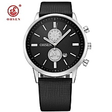 2018 OHSEN Men Quartz Wristwatches Analog Fashion Silver Black Fashion Calendar Clock Waterproof Business PU watch reloj hombre