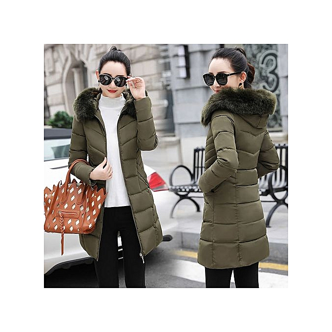 ee5ce7398 Hiaojbk Store Women Winter Warm Coat Faux Fur Hooded Thick Warm Slim Jacket  Long Overcoat-Army Green