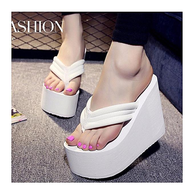 7019559f2a4 Women s High Heel Slippers Flip Flops Platform Summer Wedge Sandals Beach  Shoes