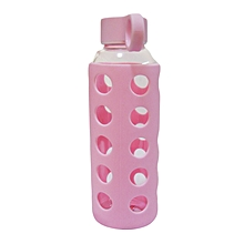 Glass Water Bottle - 460ml - Pink