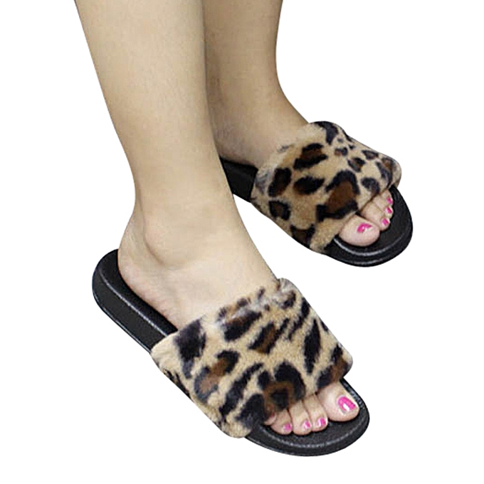 7b7e12d0c Xiuxingzi Womens Ladies Sliders Leopard Fluffy Faux Fur Flat Slipper Flip  Flop Sandal