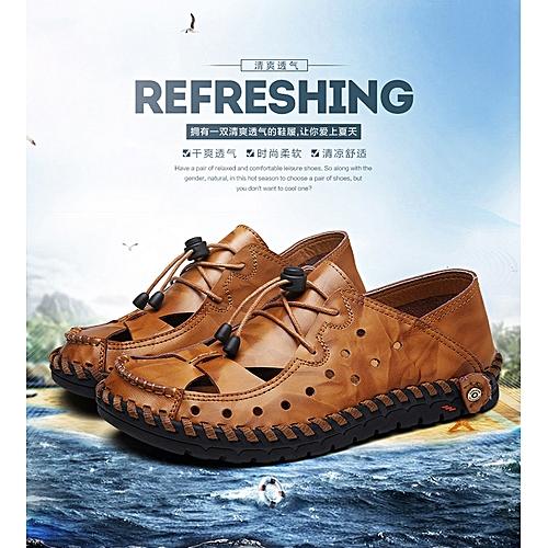 cb6518d2c4c6 Generic Summer 2019 Men s Real Leather Hole Shoes Fashion Casual Men s  Shoes Men s Large Air-permeable Leather Shoes