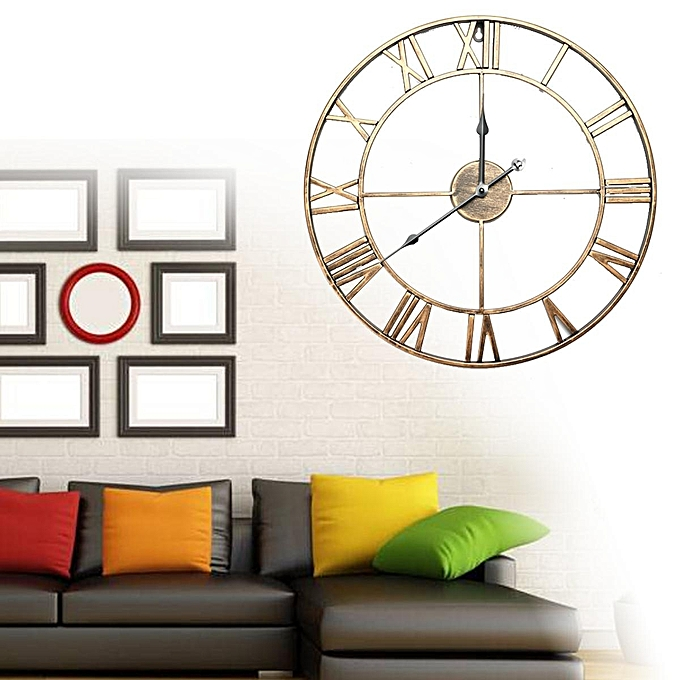 Large Skeleton Clock Style Mirroed Wall Shabby Vintage Chic Roman Numerals