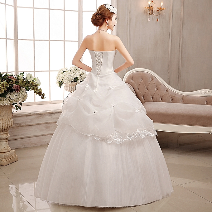 Simple Wedding Gowns In Kenya: AFankara Simple Wedding Gowns, White Bride Dress @ Best