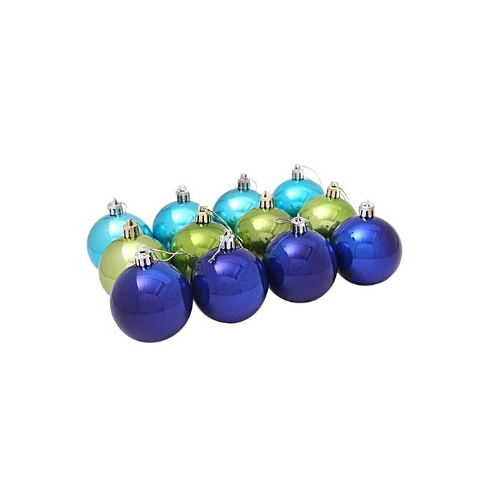 Fohting 12PC 6CM Christmas Plastic Christmas Tree Decoration Ball BU -blue
