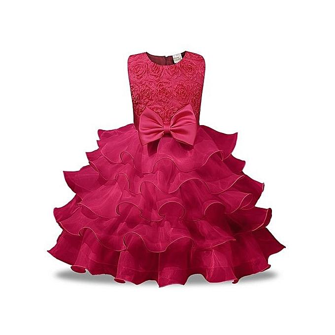 120b6b9430dc Generic New Style Children Dress Skirt Rose Beautiful Girls Princess ...
