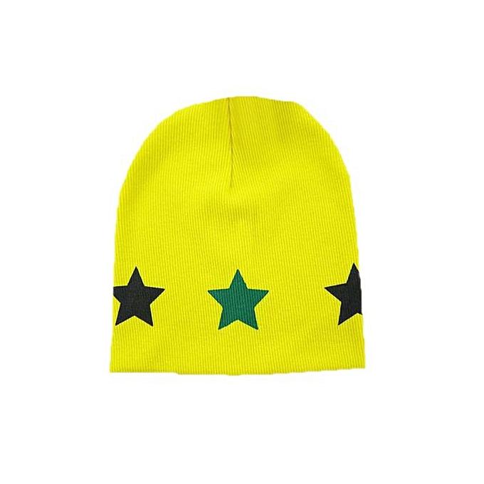 c570103cdcd ... Braveayong Print Star Baby Beanie For Boys Girls Cotton Hat Children  Winter Hats YE - Yellow ...