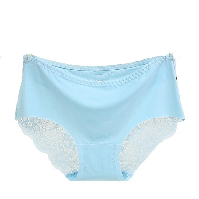92774e83b9f Women Lace Panties Seamless Ice Silk Lace Hollow Briefs Underwear LB-Light  Blue ...