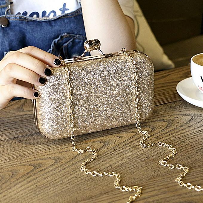 c5e48aa8f1 Large Size Women Handbag Evening Bags For Party New Women Chain Shoulder Bag  Ladies Fashion Gold