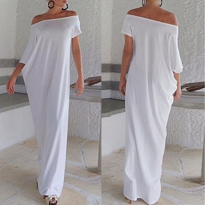 769ac455ae Plus S-3XL Women Boho Beach Short Sleeve Evening Party Long Maxi Sundress  Dress (