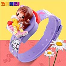 New Fashion Children Cartoon Watches Creative Students Watch Girls Kids Digital Lovely Wristwatches Relojes(Purple)