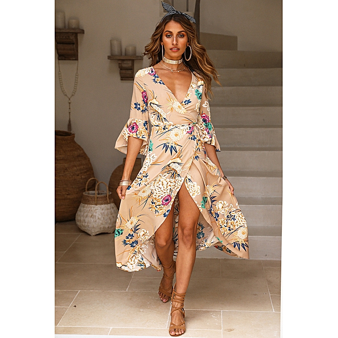 248c4f05b95a Spring Sexy Women Floral Wrapped Maxi Dress V Neck Tie Waist Flare Sleeve  Split Party Dress