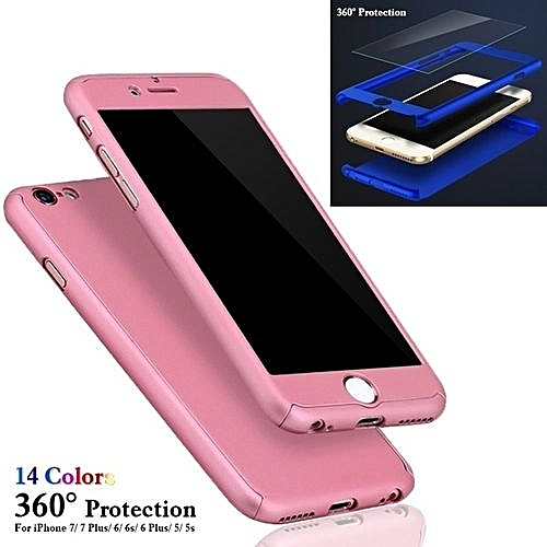 Generic 360° Phone Protection Case Hybrid Tempered Glass + Acrylic Hard Case Cover(Colour:Rose Gold;for IPhone 5)