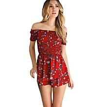 bluerdream-Womens Off Shoulder Floral Mini Playsuit Ladies Shorts Jumpsuit Romper-Red