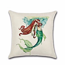 Mermaid Linen/Cotton Pillow Covers Sofa Pillow Case Car Seat Cushion Cover Decorative Pillows H04