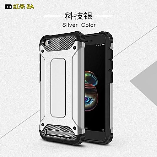 pretty nice de4a3 67971 For Xiaomi Redmi 5A Case Silicone + PC Hybrid Heavy Duty Armor Phone Cases  For Xiaomi Redmi 5A Case Redmi 5A Cover (Silver)