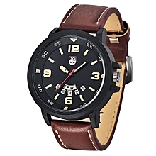Fashion Men's Leather Band Watches Military Sport Analog Quartz Date Wrist Watch