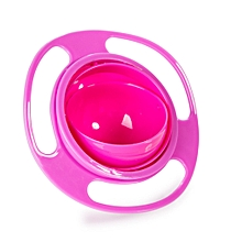 360-degree Rotating Gyro Bowl Baby Bowl Does Not Sprinkle The Saucer Bowl-Rosa