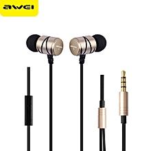 Awei Q5i In-ear Earphones Built-in Mic On-cord Control-GOLDEN