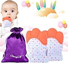 2 Pcs Newborn Baby Gloves Silicone Teether Infant Molar Mitten Glove Teething Massage Orange