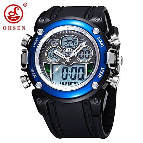 5f0b6a9f5af New OHSEN Waterproof Diver Military Wristwatch Mens Dual Time Sport Watch  Alarm Date Week Chronograph Relogio